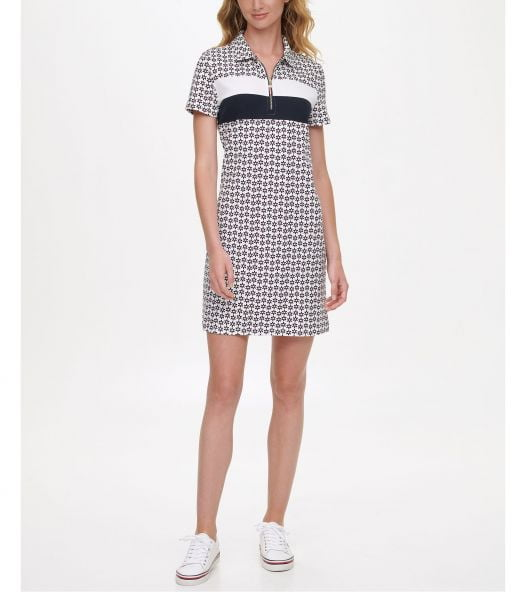 Đầm Nữ Tommy Hilfiger Printed Polo Dress Dancing Daisy - Bright While Multi
