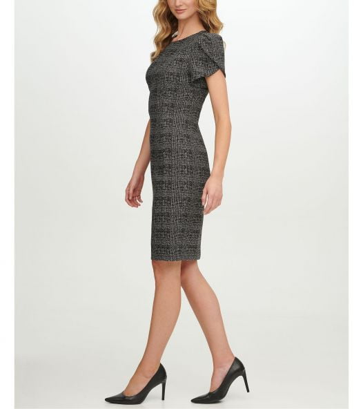 Đầm Nữ Calvin Klein Plaid Tulip Sleeve Sheath Dress Blk Tin Silver