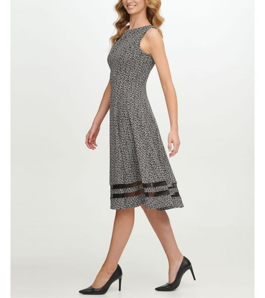 Đầm Nữ Calvin Klein Mesh Inset Printed Dress Blk Cream