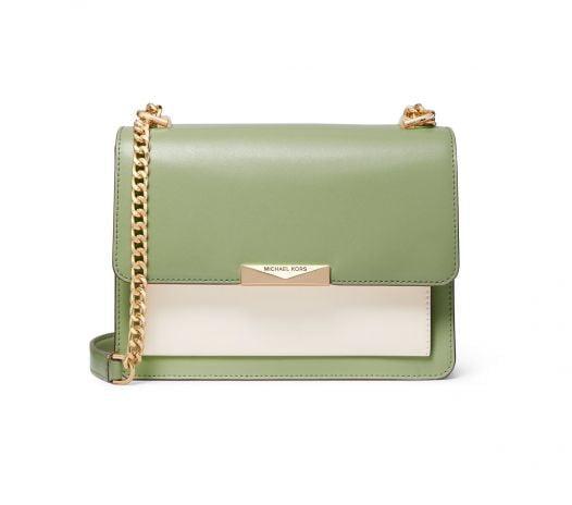 Túi Xách Nữ Michael Kors Jade Large Gusset Leather Shoulder Bag Light Sage Multi