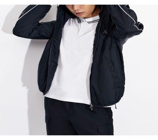 Áo Polo Nam Armani Exchange Short Sleeve Logo Stripe Polo Shirt White
