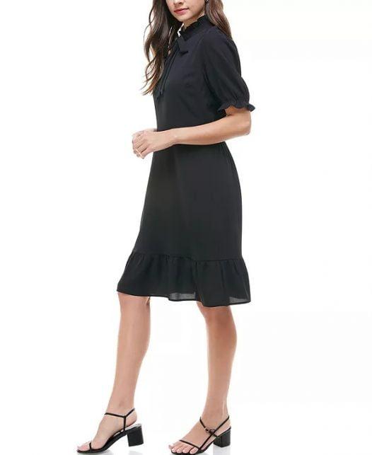 Đầm Nữ Monteau Petite Tie-Neck Ruffled-Hem Dress Black