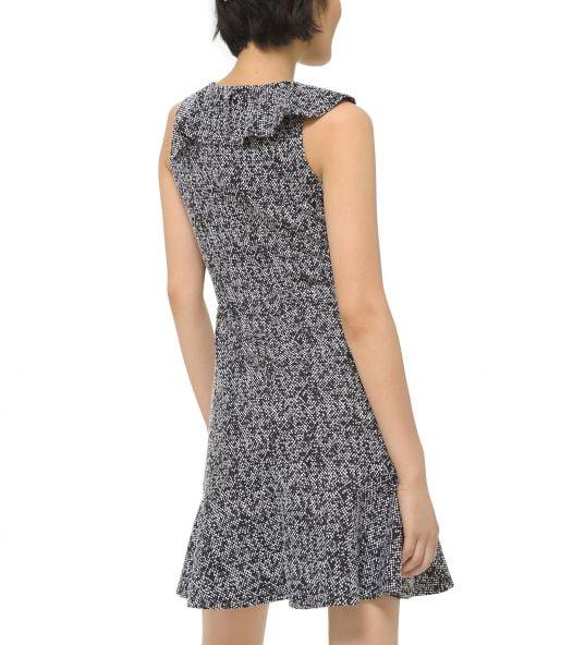 Đầm Nữ Michael Kors Petite Jacquard Fit & Flare Dress Black & White