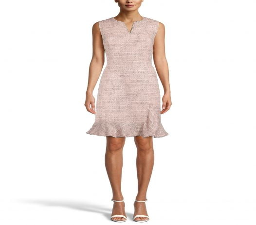 Đầm Nữ Anne Klein Tweed Ruffle-Hem Sheath Dress Devonshire Combo