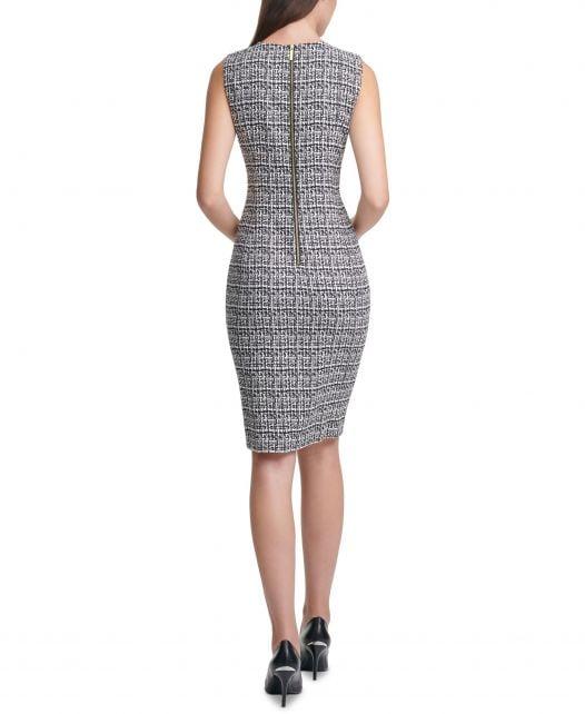 Đầm Nữ Calvin Klein Plaid Sheath Dress Black