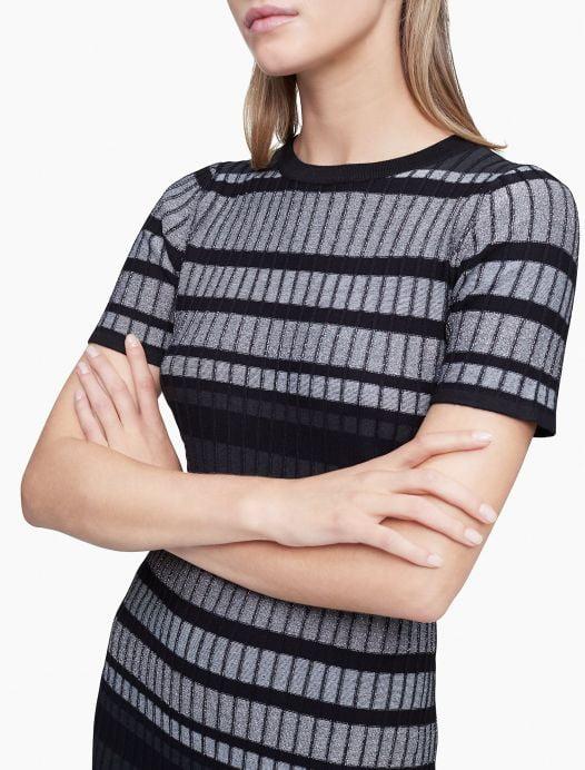 Đầm Nữ Calvin Klein Striped Sheath Sweater Dress Black Cream