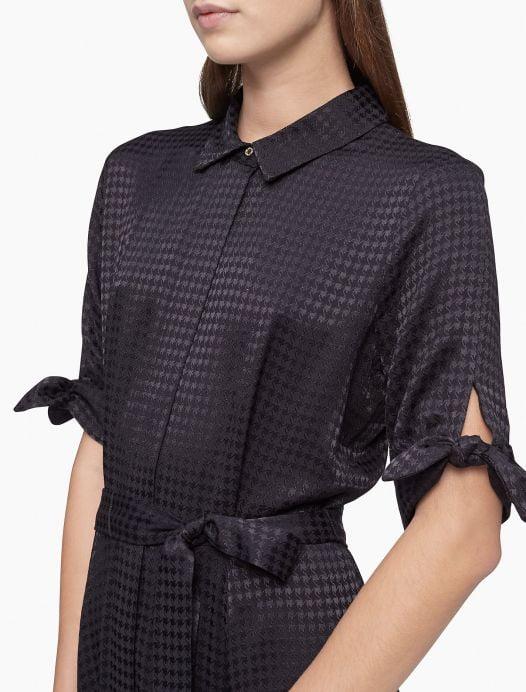 Đầm Nữ Calvin Klein Houndstooth Tie Sleeve Belted Maxi Shirt Dress Black