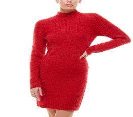 Đầm Nữ Planet Gold Juniors' Fuzzy Bodycon Sweater Dress Red