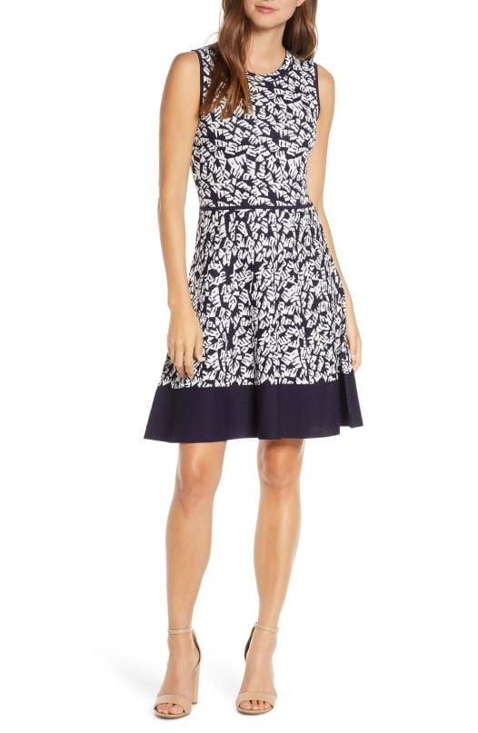 Đầm nữ Eliza J Print Fit & Flare Sweater Dress Nvy