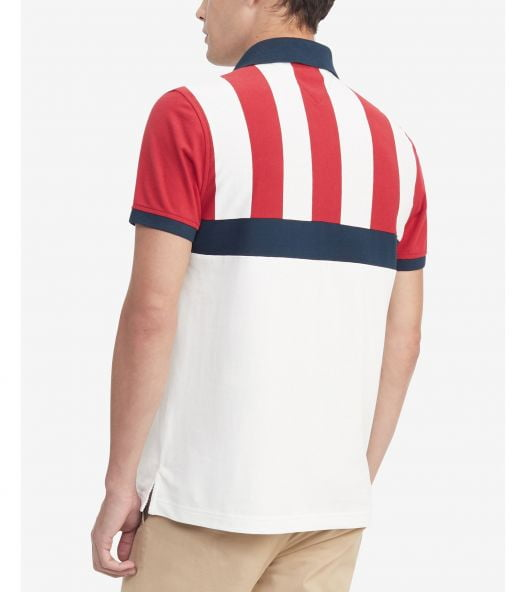 Áo Polo Nam Tommy Hilfiger Men's Larry Striped Polo Shirt Apple Red