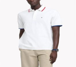Áo Polo Nam Tommy Hilfiger Men's Classic-Fit TH Luxe Hopkins Polo Snow White