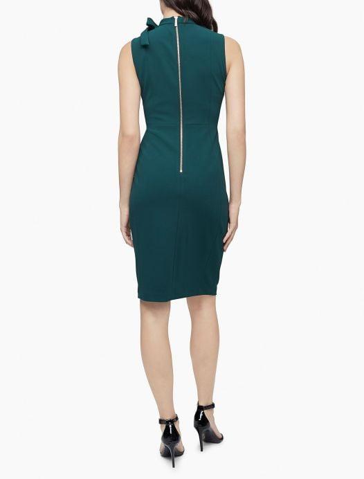 Đầm nữ Calvin Klein Bow Neck Sleeveless Sheath Dress Malachite