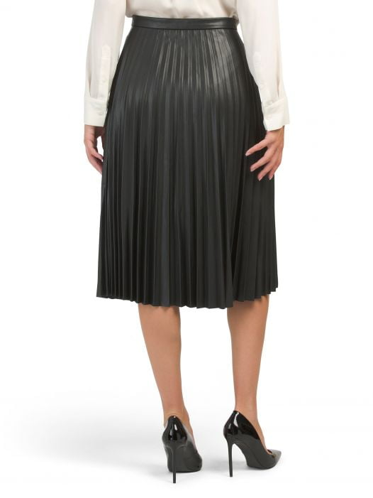 Váy Nữ 7 For All Mankind Faux Leather Pleated Skirt Cream Black