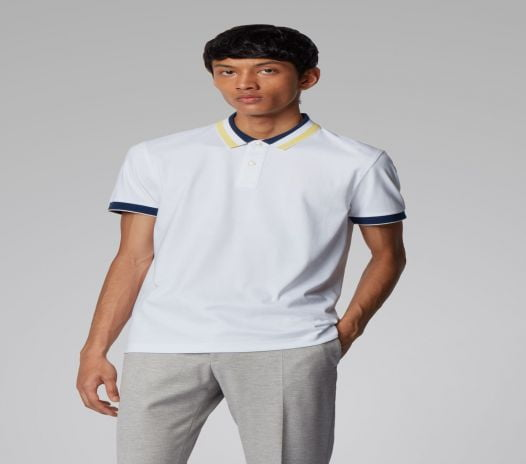 Áo Polo Nam Hugo Boss Slim Fit Polo Shirt In Cotton With Striped Collar White