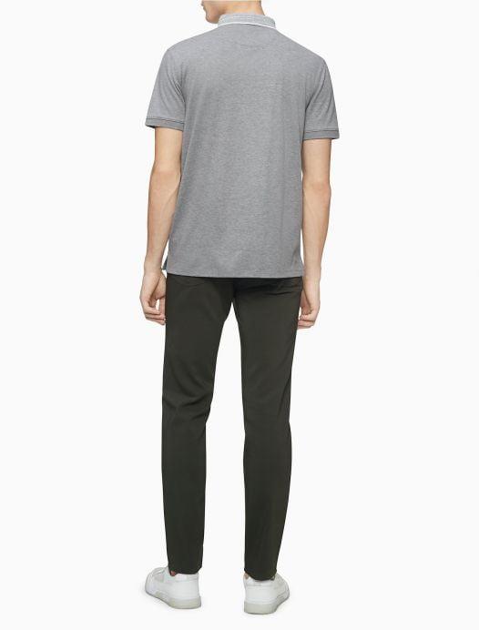 Áo Polo Nam Calvin Klein Liquid Touch Striped Collar Polo Shirt Medium Grey Heather