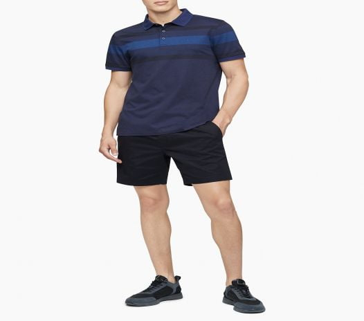 Áo Polo Nam Calvin Klein Liquid Touch Engineered Stripe Polo Shirt Peacoat
