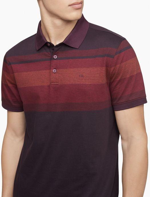 Áo Polo Nam Calvin Klein Liquid Touch Engineered Stripe Polo Shirt Plum Noir