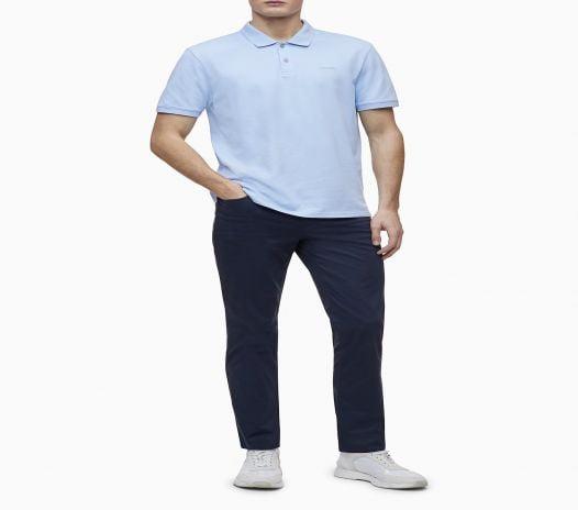 Áo Polo Nam Calvin Klein Regular Fit Solid Pique Knit Polo Shirt Blue Cantrell