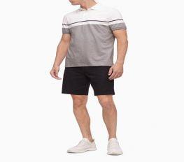 Áo Polo Nam Calvin Klein Liquid Touch Colorblock Stripe Polo Shirt Gray
