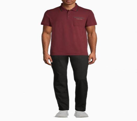 Áo Polo Nam Calvin Klein Move 365 Tipped Polo Shirt Burgundy