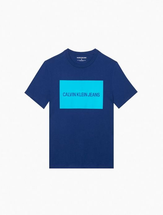 Áo Thun Nam Calvin Klein Logo Block Crewneck T-Shirt Cadet