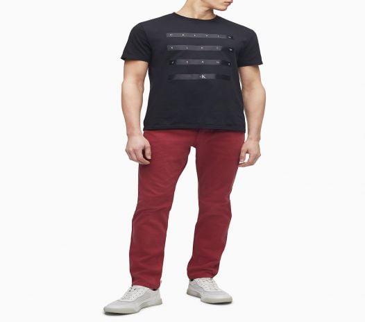 Áo Thun Nam Calvin Klein Satin Stripe Logo Crewneck T-Shirt New Black