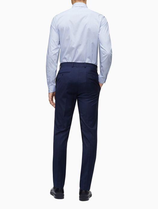 Áo Sơ Mi Nam Calvin Klein Slim Fit Blue Mini Check Performance Non-Iron Dress Shirt Blue