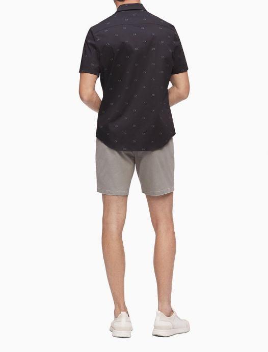 Áo Sơ Mi Nam Calvin Klein Stretch Cotton Monogram Short Sleeve Shirt Black