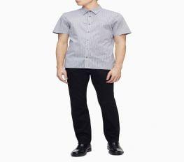 Áo Sơ Mi Nam Calvin Klein Geometric Print Button-Down Short Sleeve Shirt Harbor Mist