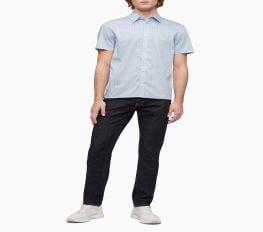 Áo Sơ Mi Nam Calvin Klein Geometric Print Button-Down Short Sleeve Shirt Cerulean