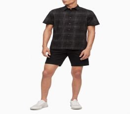 Áo Sơ Mi Nam Calvin Klein Hatch Print Button Down Short Sleeve Shirt Black