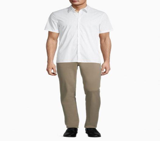 Áo Sơ Mi Nam Calvin Klein Stretch Cotton Printed Button Down Short Sleeve Shirt White