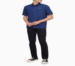 Áo Sơ Mi Nam Calvin Klein Boxy Fit Chainstitch Logo Short Sleeve Shirt Medieval Blue