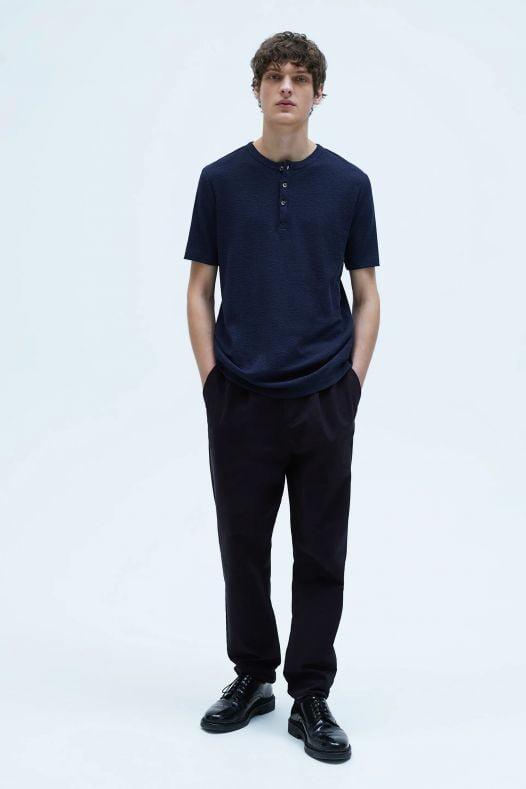 Áo Thun Nam Zara Waffle Weave Shirt Blue