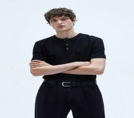 Áo Thun Nam Zara Waffle Weave Shirt Black