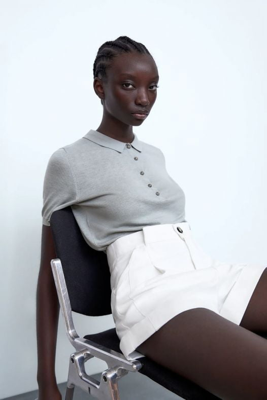Áo Polo Nữ Zara Polo Shirt With Rhinestone Buttons Mid Grey