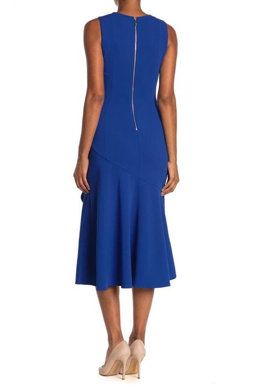 Đầm Nữ Calvin Klein Sleeveless Ruffle Hem Midi Dress Regatta