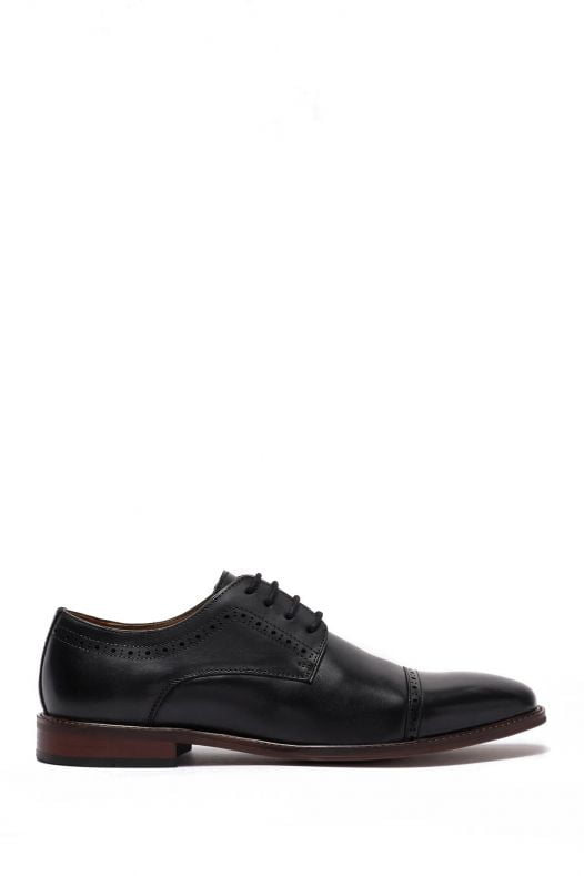 Giày Nam 14th & Union Cap Toe Leather Derby Black Leather