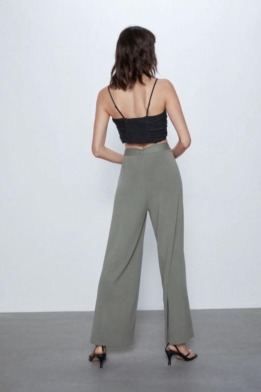 Quần Thun Dài Thắt Lưng Nữ Zara Wide Leg Belted Pants Khaki