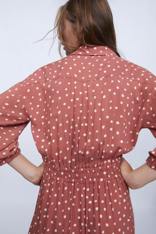 Đầm Nữ Zara Dot Shirt Dress Marsala