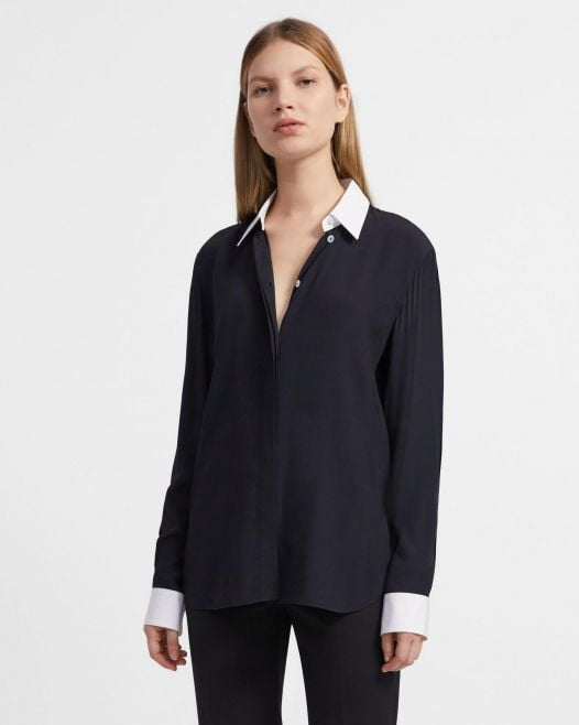 Áo Sơ Mi Nữ Theory Contrast Straight Shirt In Viscose Crepe