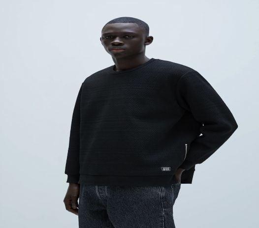 Áo Nỉ Nam Zara Quilted Sweatshirt Black