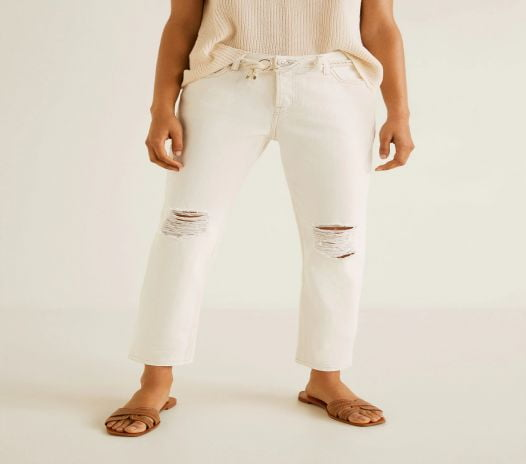 Quần Jeans Nữ Mango Relaxed Jeans Ecru