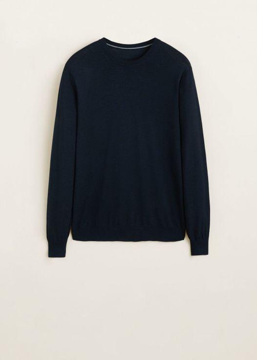 Áo Nỉ Nam Mango 100% Wool Sweater Navy