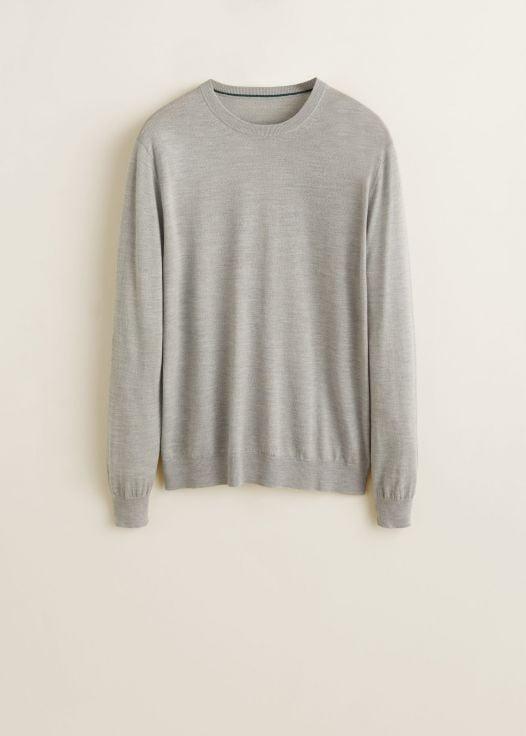 Áo Nỉ Nam Mango 100% Wool Sweater Medium Heather Grey