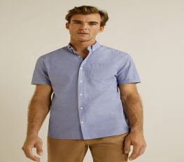 Áo Sơ Mi Nam Mango Regular Fit Cotton Shirt Navy