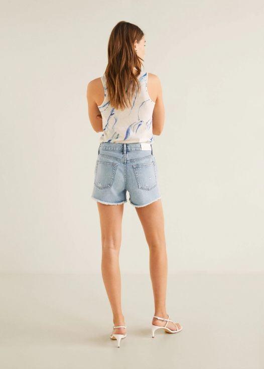 Quần Short Nữ Mango Frayed Hem Denim Shorts Light Blue