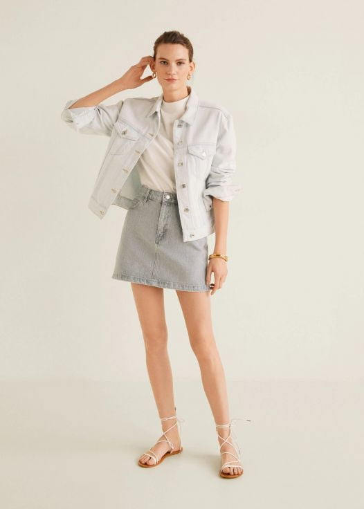 Váy Mini Nữ Mango Denim Mini Skirt Grey
