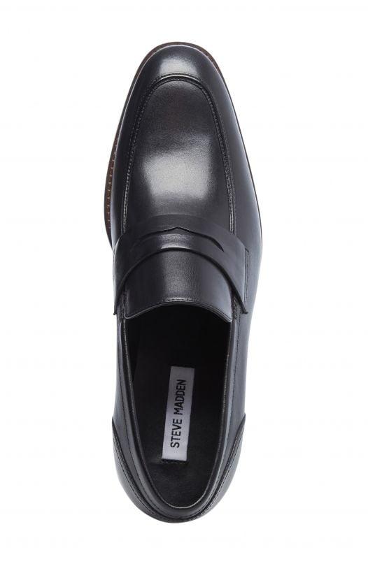Giày Nam Steve Madden Pardin Leather Slip-On Penny Loafer Black Leather