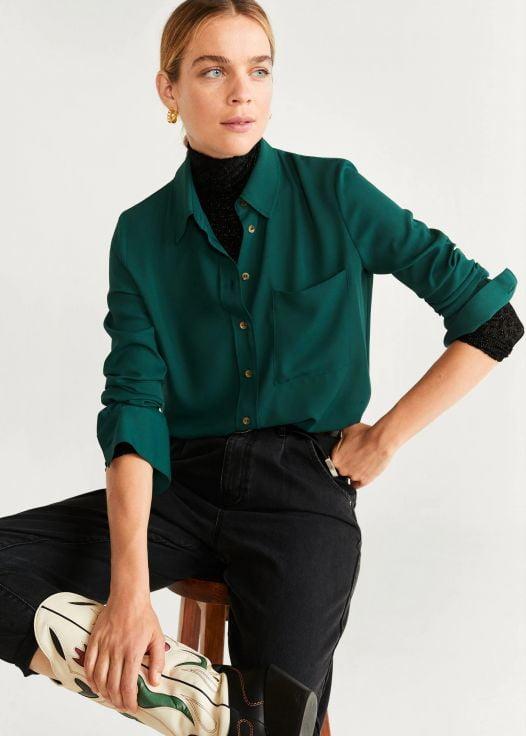 Áo Sơ Mi Nữ Mango Pocket Flowy Shirt Green